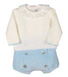 Conjunto Arles beige y celeste para bebé de Calamaro