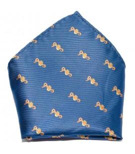 Pañuelo de bolsillo infantil azulón con caballitos de mar de Spagnolo