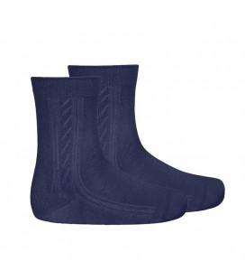 Calcetines cortos labrado lateral tacto suave de Cóndor - Marino