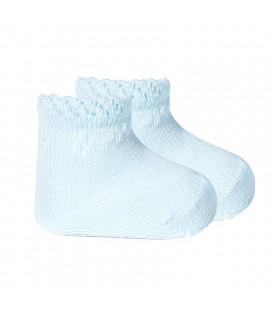 Calcetines tobilleros  perlé con detalles calados de Cóndor - Azul Bebé