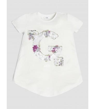 Camiseta beige con lentejuelas para niña de Guess