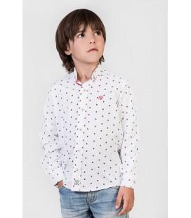 Camisa blanca con mariquitas para niño de Polo Hills