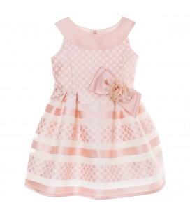 Vestido topitos con rayas rosa para niña de Kiriki Moda Infantil