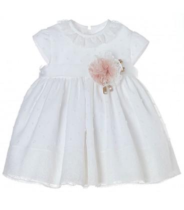 Vestido de bautizo beige de Kiriki Moda Infantil