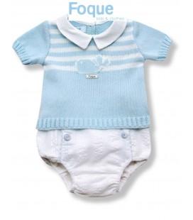 Conjunto celeste para bebé de Foque Moda Infantil