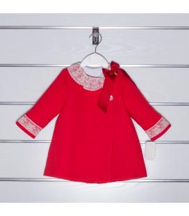 Abrigo de piqué con encaje de Valentina Bebés - Rojo