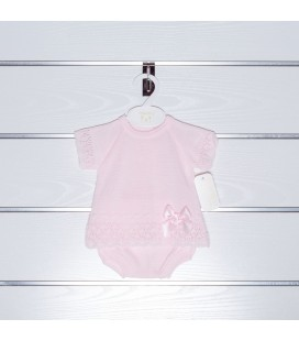 Conjunto punto jersey y braga de Valentina Bebés - Rosa
