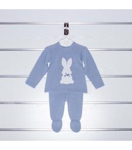 Conjunto azul empolvado jersey y polaina de Valentina Bebés
