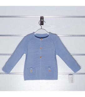 Chaqueta de punto bolsillos de Valentina Bebés - Azul empolvado