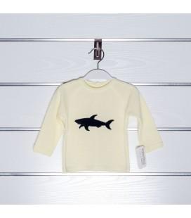 Jersey tiburón bordado de Valentina Bebés - Amarillo / Marino