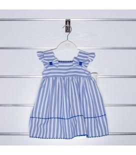 Vestido rayas azul empolvado para niña de Valentina Bebés