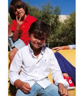 Camisa blanca popelín liso para niño de El Flamenco