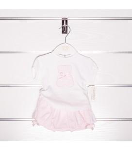 Conjunto rosa con oso de Valentina Bebés