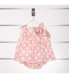 Vestido rosa empolvado con lunares de Valentina Bebés