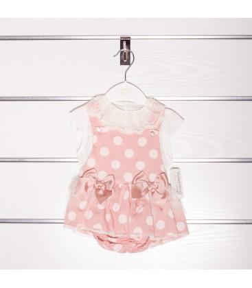 Pichi rosa empolvado con blusa de Valentina Bebés
