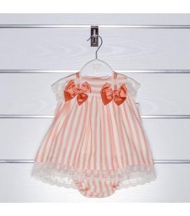 Vestido rayas coral y marfil con braguita de Valentina Bebés