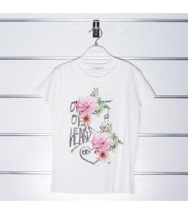 Camiseta flores beige para niña de Y-Clu