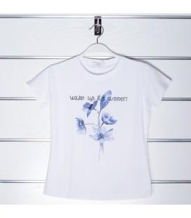Camiseta blanca con flores para niña de Y-Clu