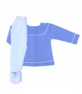 Jubón + Polaina para bebé azul y blanco de Artesanía Granlei