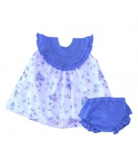 Vestido + braguita de punto azul para bebé de Artesanía Granlei