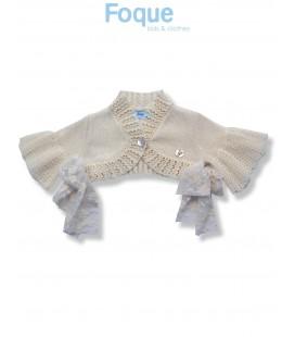 Bolero de ceremonia beige para bebé de Foque