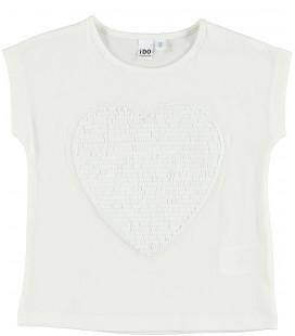 Camiseta con corazón de lentejuelas para niña de iDo by Miniconf