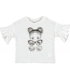 Camiseta blanca gafas para niña de iDo by Miniconf