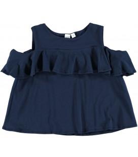 Camiseta volante azul marino para niña de iDo by Miniconf