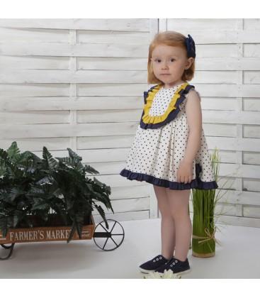 Vestido con braguita blanco para niña de Cucú by Belén Costales