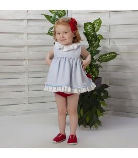 Vestido celeste con braguita para bebé de Cucú by Belén Costales