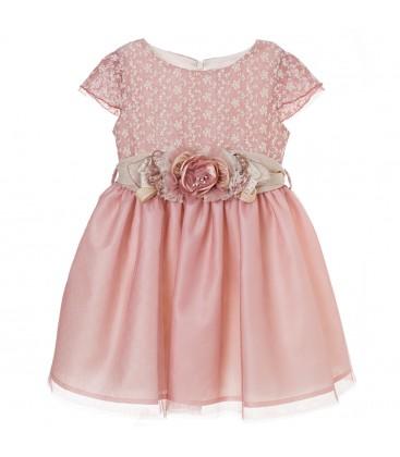 Vestido bordado rosa empolvado para niña de Kiriki Moda Infantil