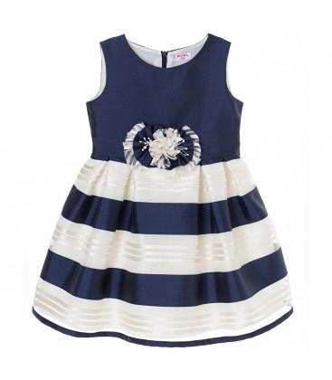 Vestido de ceremonia azul marino para niña de Kiriki Moda Infantil