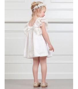 Vestido blanco roto lino bordado de Abel&Lula