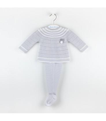 Conjunto de punto Pompón para bebé de Martín Aranda - Gris