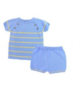 Conjunto de punto azul para bebé de Artesanía Granlei