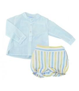 Conjunto camisa y bombacho para bebé de Artesanía Granlei