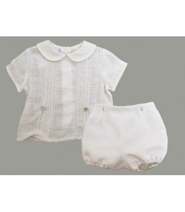 Conjunto camisa y bombacho beige de Artesanía Granlei