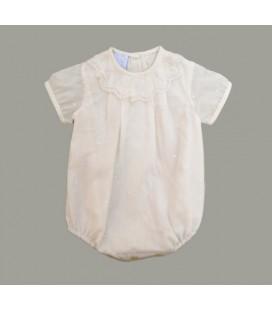 Pelele plumeti beige para bebé de Artesanía Granlei