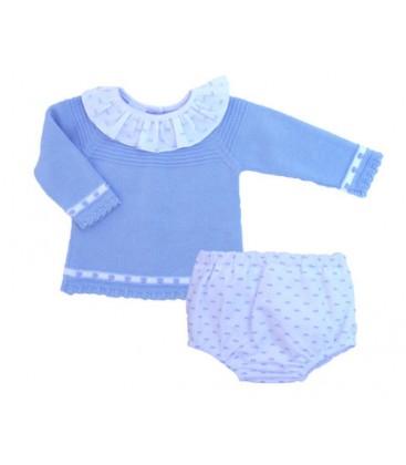 Conjunto jubón azul y cubre para bebé de Artesanía Granlei