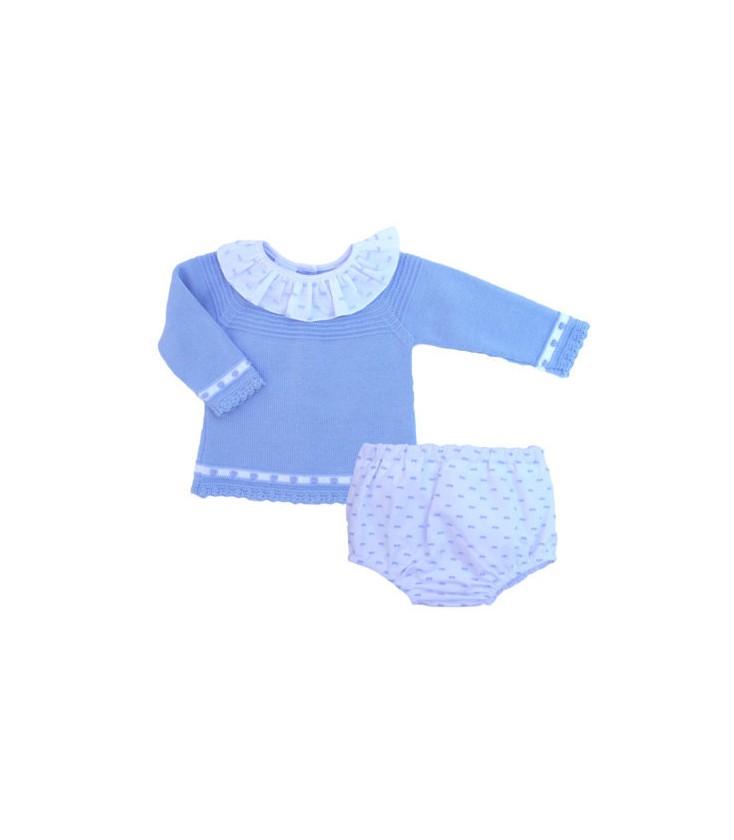 6eeb11500 Conjunto jubón azul y cubre para bebé de Artesanía Granlei - Adriels ...