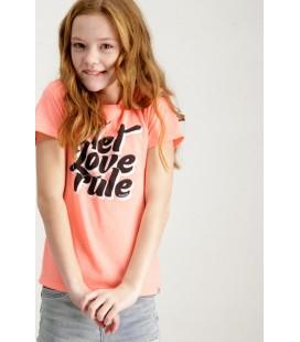 Camiseta naranja fluor para niña de Garrcia Jeans
