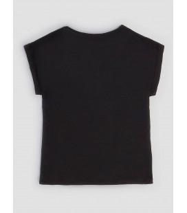 Camiseta negra con flores para niña de Guess