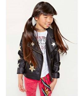 Chaqueta negra estrellas para niña de Guess