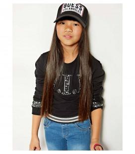 Camiseta negra para niña de Guess