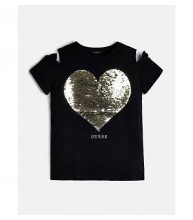 Camiseta negra corazón para niña de Guess