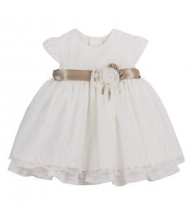Vestido de bautizo beige para bebé de Kiriki Moda Infantil