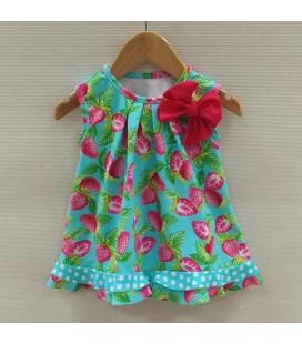 Vestido Fresas para niña de Sardón - Turquesa