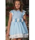 Vestido azul y blanco para niña de Atelier de Candela