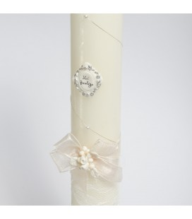 Vela de bautizo decorada con lazo -  Crudo