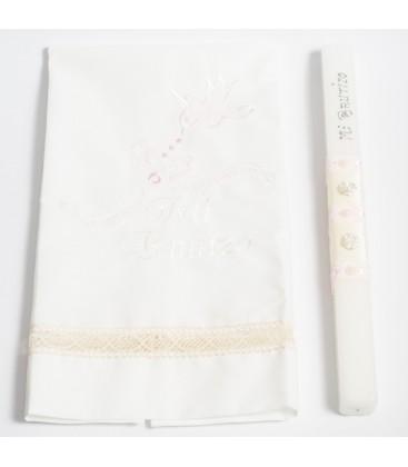 Conjunto vela y pañuelo de bautizo - Crudo/Rosa